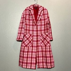 Topshop Pink Check Side Split Coat